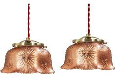 Copper Leaf Glass  Pendants,      Pair