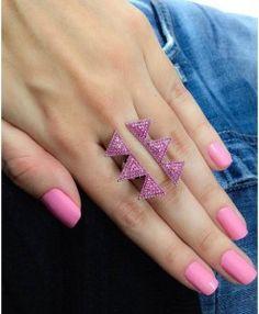 anel rosa ajustavel rubi geometrico semijoia