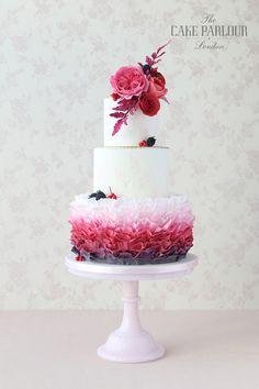 'RUSTIC OMBRE RUFFLES & FLOWERS' Wedding Cake - Layers of sugar ruffles…