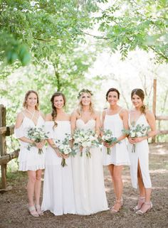 Assortment of dress style for bridesmaids' dresses is such a fun idea that looks so cute! | Organic Whimsical Oklahoma Wedding Captured by Ely Fair Photography | Chelsea + Robert #bridesofok #oklahomabride #bridesmaids