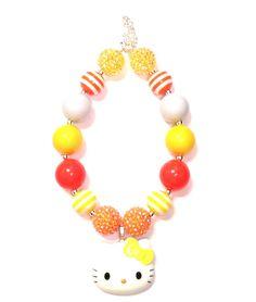 Hello kitty chunky necklace bubblegum by LolaandDarlaDesigns, $18.00