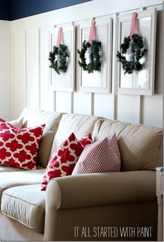 Red and White Christmas Decor Featuring @OnlineFabricOFS Premier Prints and Red and White Ticking fabric.