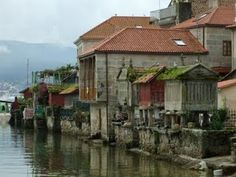 Old Europe - Spain - Galicia : Combarro. Typical galician architecture of fishermans little town