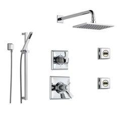 delta dryden chrome shower system with shower handle 6setting diverter large