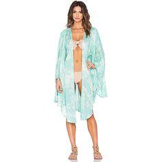 AMUSE SOCIETY Sandrine Kimono Jackets & Coats (€34) ❤ liked on Polyvore featuring outerwear, coats, coats & jackets, kimono coat, green kimono and green coat