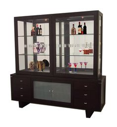 Najarian Brentwood Contemporary China Cabinet With Etched Glass Doors Dining Room Designs