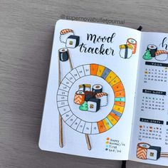 Such a cute mood tracker for a bullet journal. The sushi theme in a bujo is a colorful and unique way to make tracker spreads - Sushi Mood Tracker for Bullet Journals