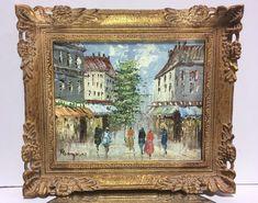 VTG. MID-CENTURY PARIS STREET SCENE IMPRESSIONIST PICTURE FRAME OIL PAINTING  #Impressionist