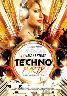 Techno Party Flyer Template…