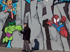 Superhero Mural off of Mission Street by prayforsnow, via Flickr