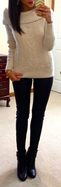 Hello, Gorgeous!: threads. Off shoulder sweater  Seamless cami Leather pants/leggings  Black ankle boots  Bangle ℅ Bip and Bop