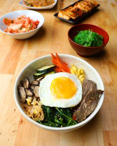 Korean Bibimbap (Mixed Veggies, Beef and Rice Bowl)