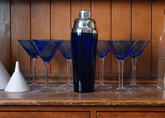 1920s Cocktail Shaker and Martini Glasses