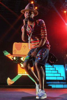 Mens Fashion:  Paint splash denim shorts & Accessories - Pharrell Williams- Pinterest: @keraavlon