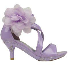Girls Dress Sandals Strappy Rhinestones High Heel Flower Lilac Youth Kids