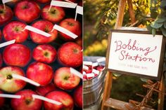 Bobbing for apples, unique idea to guide your guests to there table!