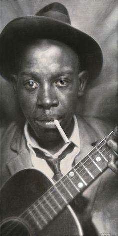 King of the Delta Blues. Presented here is the second Blues Legend painting 'Robert Johnson'. Acrylic on canvas, 80 x 160 cm, by Sebastian Kruger, Looks like a photograph, doesn't it? Robert Johnson, Delta Blues, Mississippi, Music Icon, My Music, Reggae Music, Rock Music, Sebastian Kruger, Rock And Roll