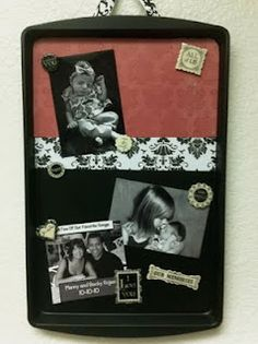 Cookie sheet used to display pictures. Can paint with chalkboard paint and cover with felt for preschool/FHE display.