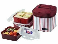 Lock & Lock Square Lunch Box 3-piece Container Set by Lock & Lock. $39.95. Eco-friendly BPA-free materials. Meets FDA standards. Airtight and leak-proof with patented 4-hinge locking system. Microwave, freezer and top-rack dishwasher safe. Set includes one 3.3 C container, one 3.3 C container with dividers, one 4.1 C container and insulated  burgundy striped lunch box.. Carrying foods on the go has never been easier with Lock & Lock's insulated lunch box and 3-piece container s...