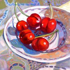 Jan Cook Mack, Cherries on a Plate