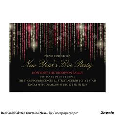 Red Gold Glitter Curtains New Year's Eve Party 5x7 Paper Invitation Card