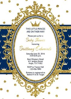 Prince birthday party invitation first birthday royal any age prince baby shower invitation blue boy shower silver glitter gold glitter glitter royal crown baby boy shower baby shower invitation filmwisefo