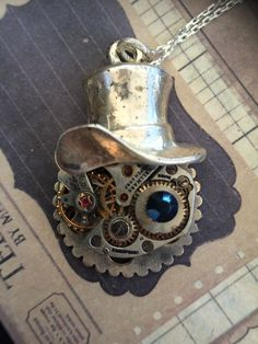 Steampunk Cheshire Cat necklace Sterling Silver by VictorianMagpie