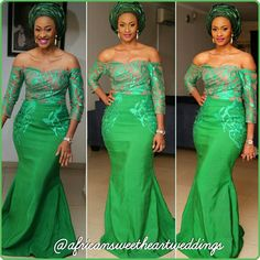 green nigerianwedding asoebi africansweetheartweddings makeup africansweetheartweddings