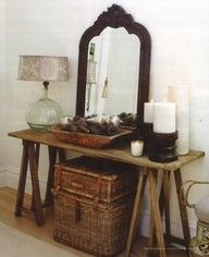 front room, living room, basket, sawhorse, display, storage, mirror