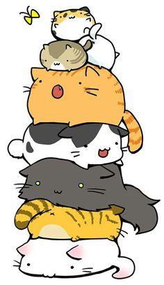 Cats, pile, neko; Kawaii