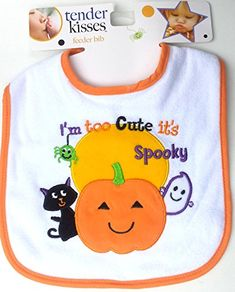 Tender Kisses Baby/'s My First Halloween Orange Bib Embroidery Detail