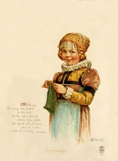 Frances Brundage (1854–1937)  Postcard- Germany-Oh the joy of young ideas painted on the mind. To the warm glowing colors fancy spreads on objects not yet known, when all is new and all is lovely.