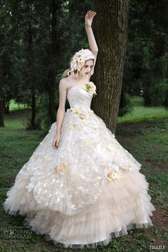 tiglily 2015 by bridal amore japanese romantic strapless colored ball gown wedding dress styles -- TIGLILY Spring/Summer 2015 Wedding Dresses 2015 Wedding Dresses, Cheap Wedding Dress, Wedding Dress Styles, Bridal Dresses, Wedding Gowns, Ball Dresses, Ball Gowns, Fairytale Dress, Beautiful Gowns
