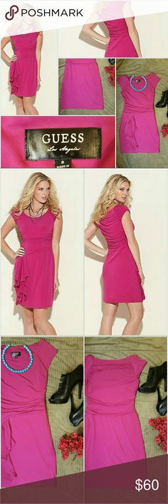 GUESS hot pink ruched ruffle Sleeveles Dress New GUESS Hot Pink Ruched Ruffle Sleeveles Dress. This beauty features a rounded neckline and formfitted silhouette. Gathered, ruched sides. Side zip closure. Women's size 6  NWOT Guess Dresses Mini