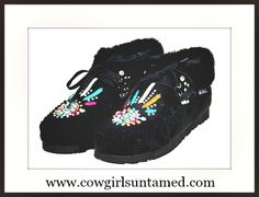 STAY WARM and COMFY in these Fur Lined Rhinestone Studded Embroidered Black Moccasins #moccasins #booties #shoes #fur #Indian #western #embroidered #rhinestone #bling #fashion #winter #boutique #beautiful #suede #onlineshopping