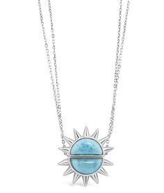 "Best Friends Share the Sun Necklace Set Larimar Sterling Silver Adjustable 16-20"" Cable Chain by Dune Jewelry - The Larimar Collection Blue Necklace, Necklace Set, Dune, Cable, Sterling Silver, Chain, Friends, Gifts, Collection"