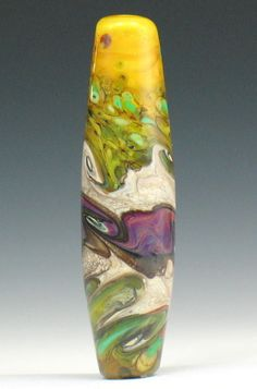 SJC Lampwork 47 x 12 mm. hand made silvered glass focal tube bead ~SRA~ USA~ #SJCLampwork #Lampwork