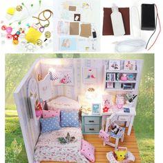 Hoomeda DIY Wood Dollhouse Miniature With LED Furniture Cover Doll House Room Sale - Banggood.com
