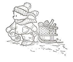 bear pulling sled