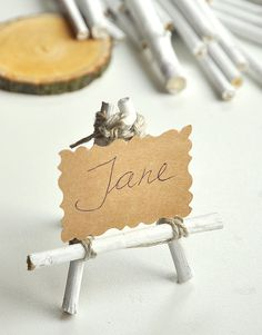 White wood easel SET of 12 - Card holders - Rustic Woodland weddings - Miniature wood stand on Etsy, $19.00