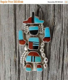 Zuni Silver Rainbow Dancer Turquoise Coral Pin/ Pendant, Zuni Silver Pendant,Turquoise Pendant,Silver Pendant,Free Shipping USA,Gift for her