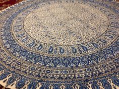 """Calico fabric with Natural dyes  round tablecloth 70"""" inches with tassels"""