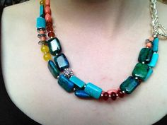 Coral and Turquoise MultiStone Necklace by OriginBrooklyn