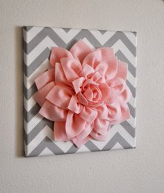 Baby Girl Room- TWO Wall Flower Decor -Light Pink Dahlia on Pink and Gray Chevron 12 Canvas Wall Art- Baby Nursery Wall Decor- Diy Wand, Cute Crafts, Diy And Crafts, Arts And Crafts, Decor Crafts, Flower Wall Decor, Flower Decorations, Wall Flowers, Cute Wall Decor