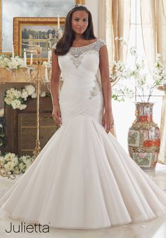 View Dress - Mori Lee Julietta FALL 2016 Collection: 3206 - Dazzling Beaded Embroidery on Tulle | PlusSize Bridal