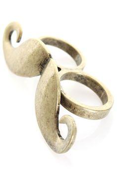 Mustache Two Finger Ring