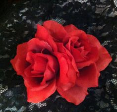 Large Dual Red Rose Flower by dropdeaddollface on Etsy, $9.99