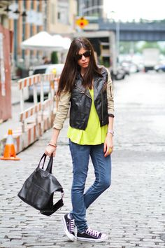Neon top under leather jacket