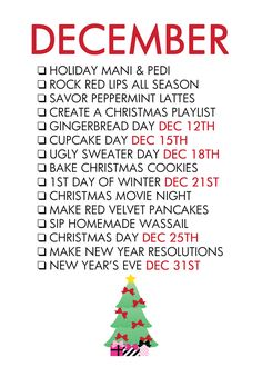 december life list - Google Search