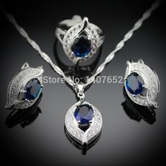 Classic Blue Sapphire Jewelry Sets 925 Sterling Silver Earrings/Pendant/Necklace/Rings For Women  Free Jewelry Box JS100